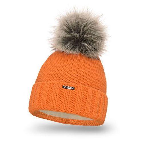 Czapka damska PaMaMi - Pomarańczowy - Pomarańczowy \ Pompon futerkowy - długi włos, kolor pomarańczowy