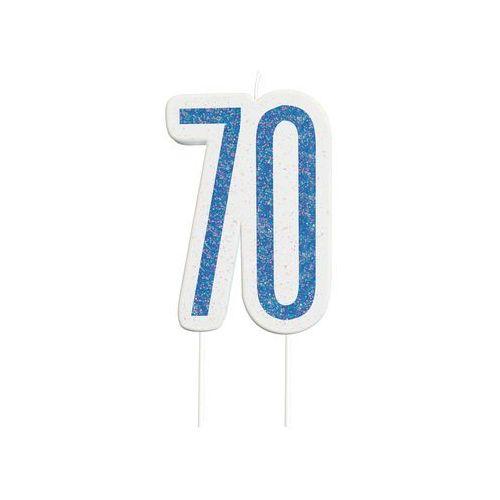 Unique Brokatowa niebieska świeczka na 70-tke - 1 szt. (0011179838844)