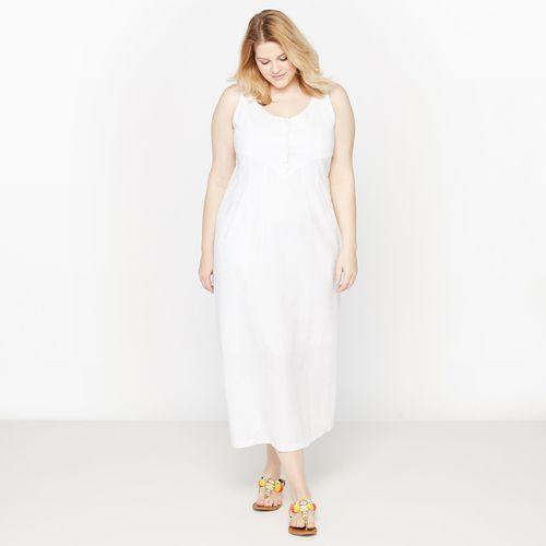 Długa sukienka z lnu i bawełny