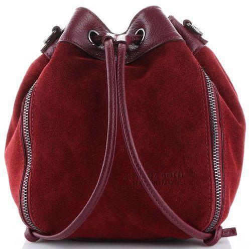 Modne włoskie torebki skórzane listonoszki firmy made in italy bordowe (kolory) marki Vittoria gotti