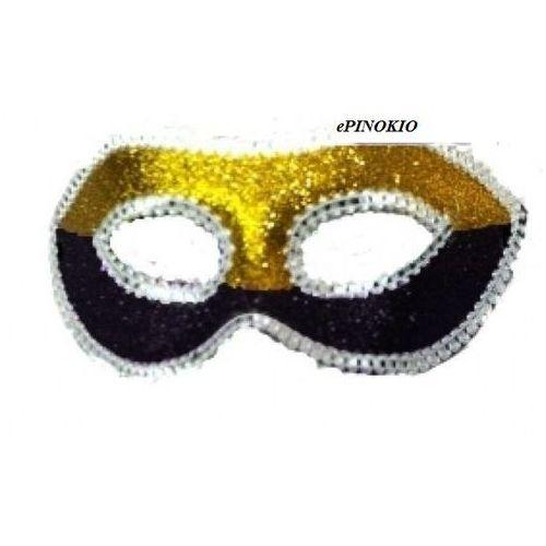 Maska wenecka z brokatem złoto-czarna - przebrania dla dorosłych