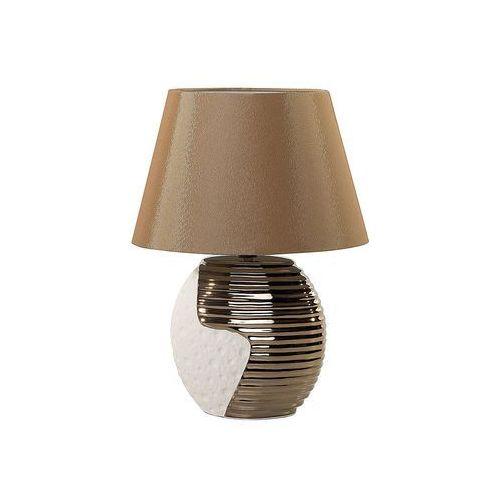 Beliani Nowoczesna lampka nocna - lampa stojąca - miedziano-beżowa - esla (7081453735438)