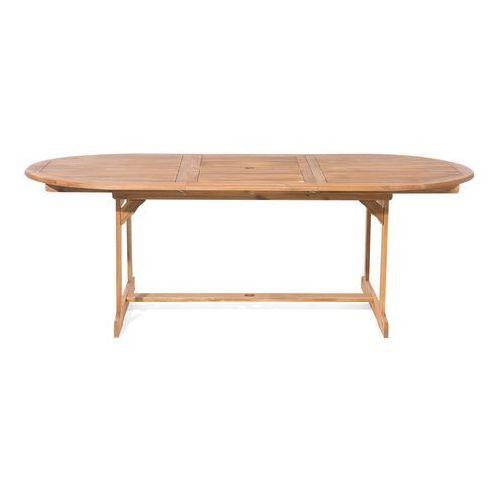 Beliani Zestaw ogrodowy stół i 8 krzeseł z niebieskimi poduszkami maui