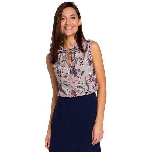 Letnia Bluzka w Kwiatki Wiązana przy Dekolcie - Model 2, ES143moedl2