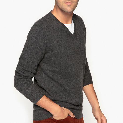 Kaszmirowy sweter z dekoltem V