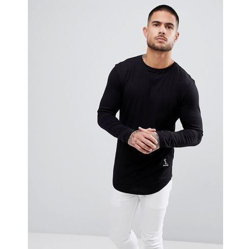 Religion Long Sleeve T-Shirt With Curved Hem and Double Neck - Black, kolor czarny