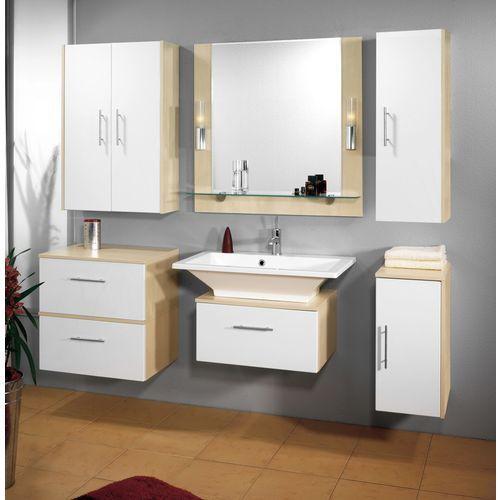 Zestaw mebli łazienkowych domino umywalka + szafka + lustro wyprzedaż ekspozycji! marki Fackelmann