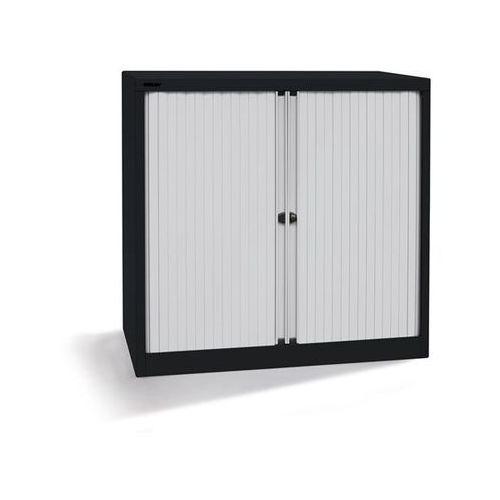 Bisley Szafka z roletami euro, szer. 1000 mm, 2 półki, czarny / jasnoszary. komplet z p