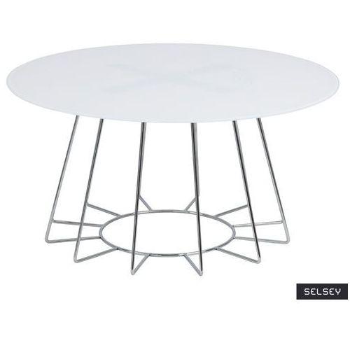 Selsey stolik szklany milha okrągły średnica 80 cm biały ze srebrną ramą