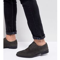 wide fit casual brogue shoes in grey suede with distressed sole - grey, Asos