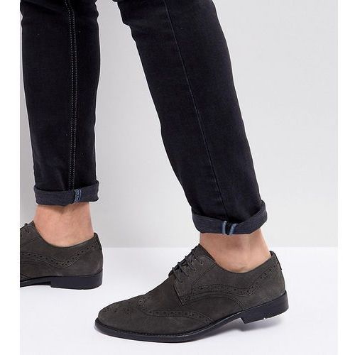 Asos wide fit casual brogue shoes in grey suede with distressed sole - grey