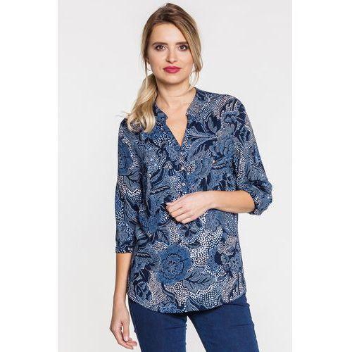 Bluzka w kwiatowe wzory z rękawem 3/4 - Duet Woman, 1 rozmiar