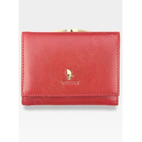 Portfel Damski Skórzany PUCCINI Klasyczny Czerwony z Biglem 1701P Mały - Czerwony