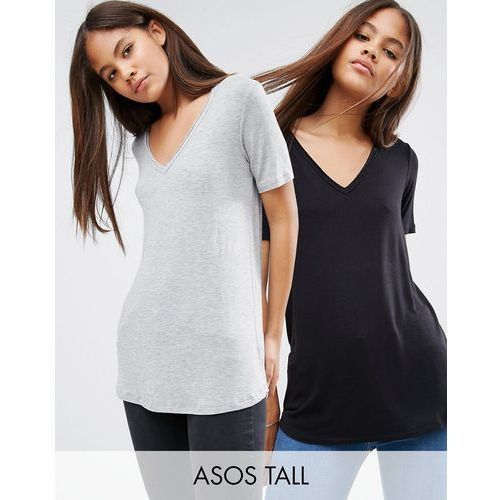 ASOS TALL The New Forever T-Shirt With Short Sleeves and Dip Back 2 Pack - Multi