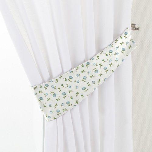 podwiązka victoria, turkusowo-zielone kwiatuszki na jasnym tle, 12 x 70 cm, wyprzedaż do -30% marki Dekoria