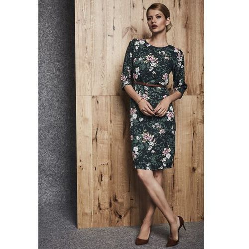 Granatowa sukienka we wzór w kwiaty - Ennywear, kolor zielony