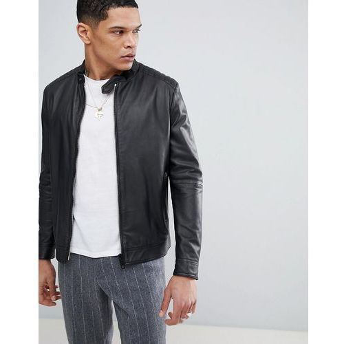 leather bomber jacket in black - green marki Antony morato