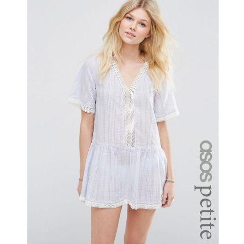 ASOS PETITE Exclusive Smock Beach Dress with Crochet Trim - Blue - sprawdź w wybranym sklepie