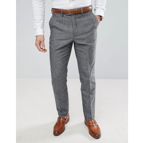 French Connection Semi Plain Donegal Slim Fit Suit Trousers - Grey