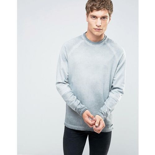 crew neck sweat with cut and sew raglan sleeve in oil wash - grey marki Only & sons