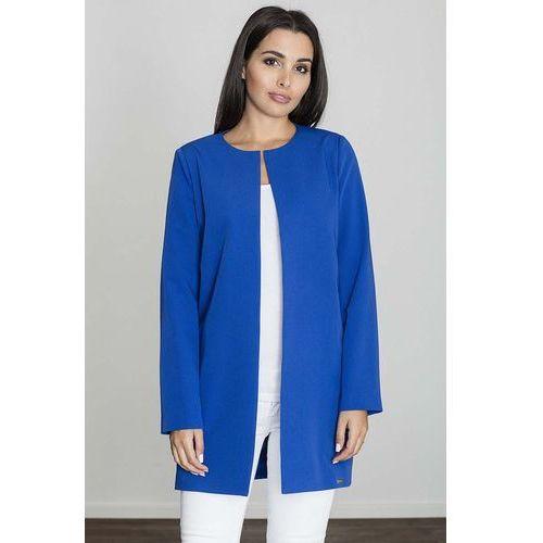 Niebieski pudełkowy kobiecy płaszcz bez zapięcia marki Figl