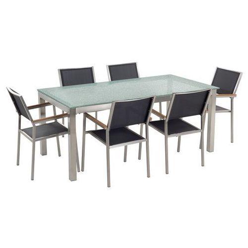 zestaw ogrodowy szklany blat 180 cm 6 osobowy czarne krzesła grosseto marki Beliani
