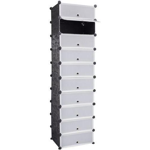 Vidaxl  biało czarny organizer na buty szafka z 10 szufladami 47 x 37 172 cm