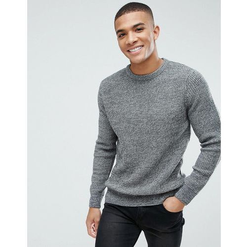 New look knitted jumper with crew neck in silver marl - silver