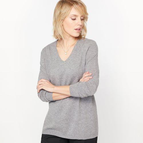 Sweter z dekoltem w kształcie V, czysty kaszmir, kaszmir