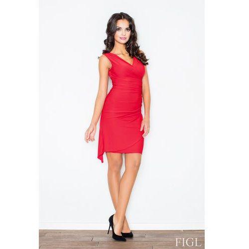 Czerwona asymetryczna sukienka modnie marszczona, Figl, 36-42