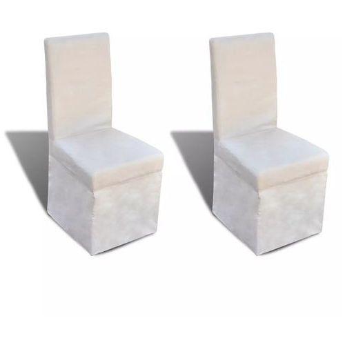 Krzesła do jadalni tapicerowane tkaniną, kremowe, 2 szt.