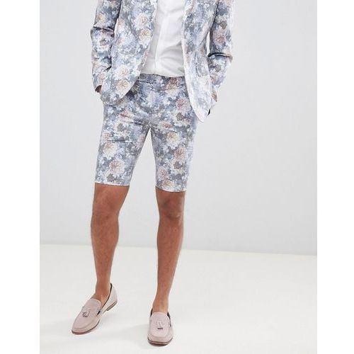 skinny fit suit shorts with floral print in multi - multi marki Boohooman