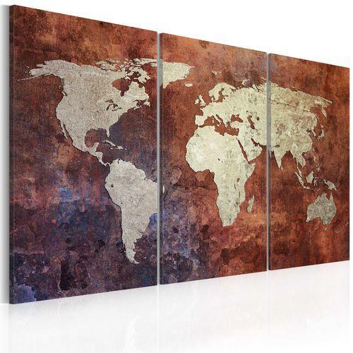 Obraz - rdzawa mapa świata - tryptyk marki Artgeist