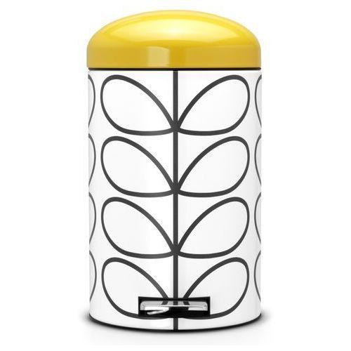 Brabantia - kosz pedałowy 'retro' - wiaderko plastikowe – 12l - żółta pokrywa
