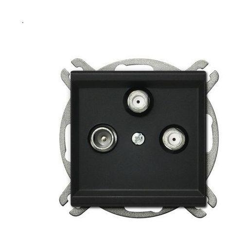 Gniazdo antenowe sonata gpa-r2s/m/33 rtv-sat z dwoma wyjściami sat czarny metalik marki Ospel