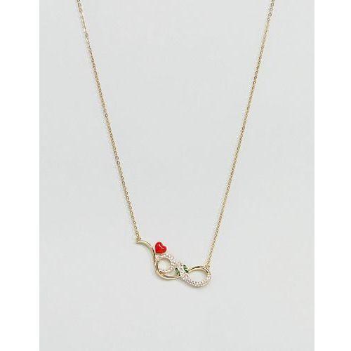 Glamorous gold embellished snake necklace - gold