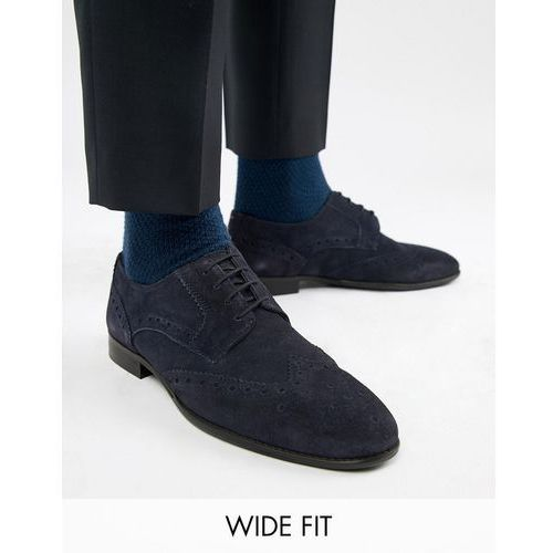 KG By Kurt Geiger Wide Fit Brogues In Navy Suede - Blue