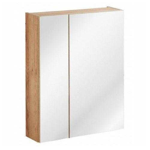 Podwieszana szafka łazienkowa z lustrem - Malta 5X Dąb 60 cm, kolor dąb