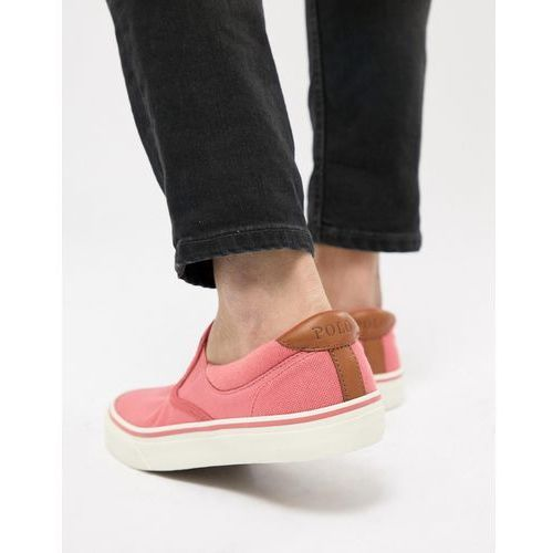 Polo Ralph Lauren Thompson 2 Pique Slip On Plimsolls Leather Trims in Pink - Pink