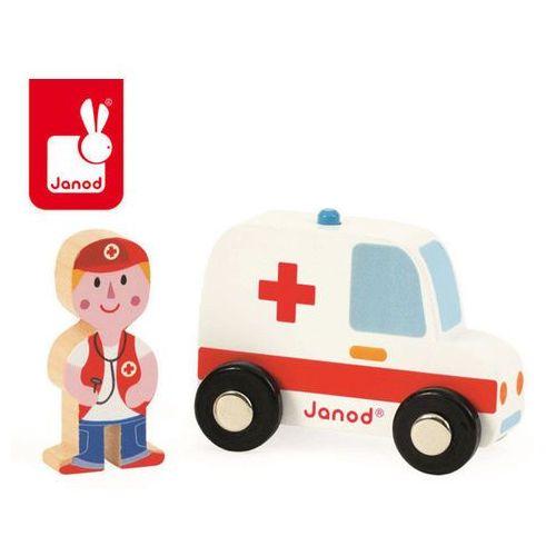 Ambulans z lekarzem zestaw drewniany - zabawka dla dzieci