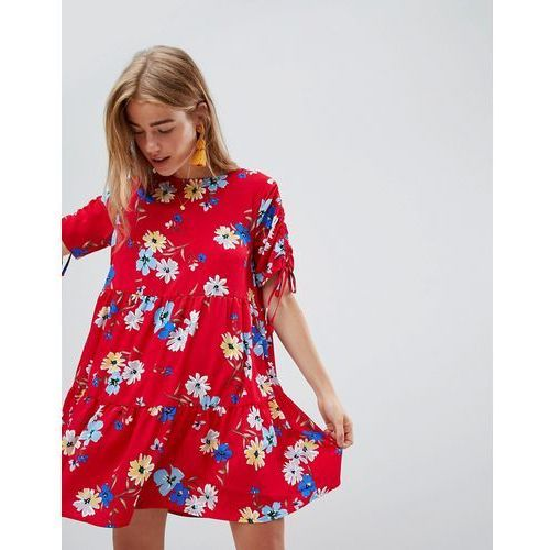 QED London Floral Print Shift Dress - Red