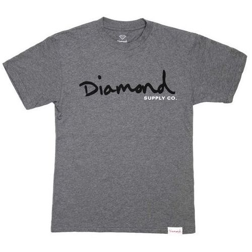 koszulka DIAMOND - Og Script Tee - Core Heather Grey (HTGR) rozmiar: XL, kolor szary