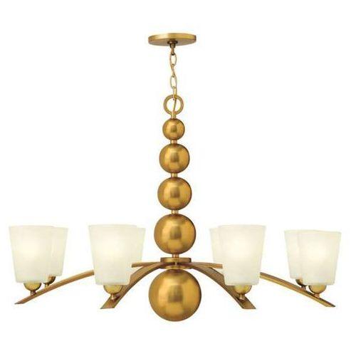 Żyrandol LAMPA wisząca HK/ZELDA8 VS Elstead HINKLEY szklana OPRAWA w stylu retro kule mosiądz biała (1000000153088)