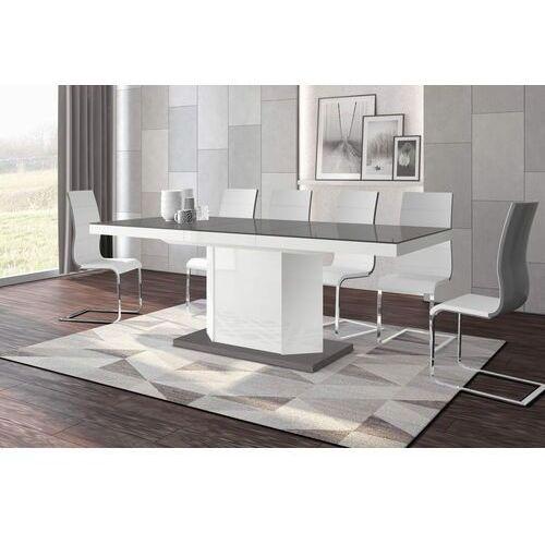 Stół rozkładany amigo 160-256 szaro-biały połysk marki Hubertus