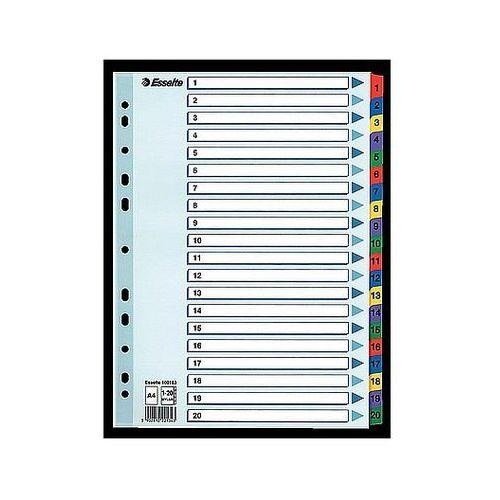 Przekładki mylar A4 1-20 Esselte białe 100163