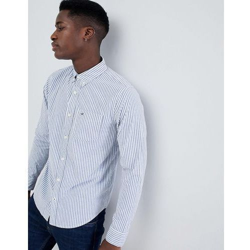 button down seagull logo wide marl stripe slim fit shirt in white/blue - white, Hollister, XS-XL