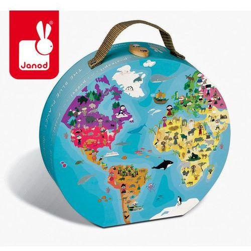 Puzzle w walizce dwustronne błękitna planeta 208 elementów - marki Janod