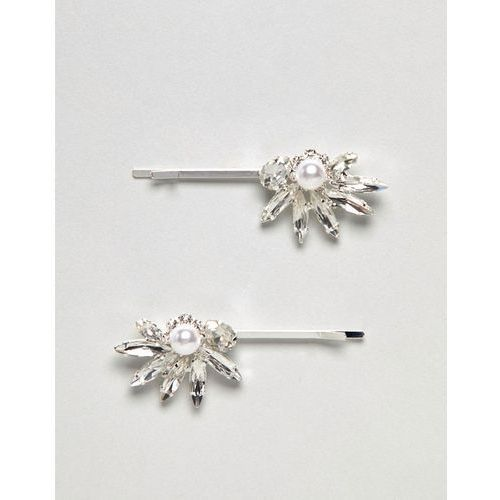 True decadence silver pearl embellished hair grips - silver