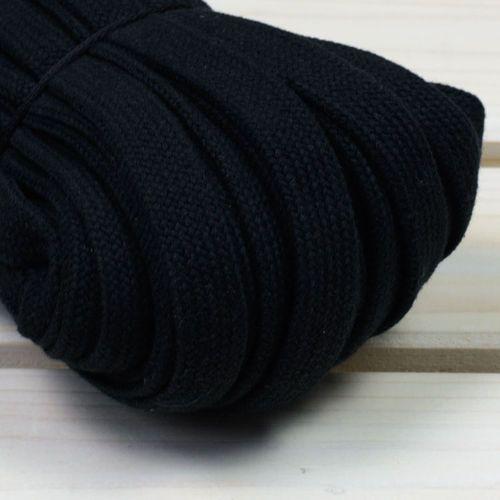 Sprzedajemytkaniny-1 Sznurek bawełniany płaski 18mm czarny