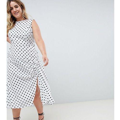 ASOS DESIGN Curve sleeveless maxi dress in polka dot - Multi